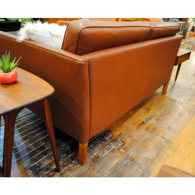 Danish Modern Leather Love Seat - Image 4 of 6