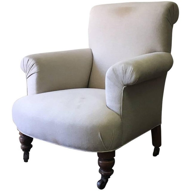 Late 19th Century Late 19th Century English Upholstered Chair in Linen For Sale - Image 5 of 5
