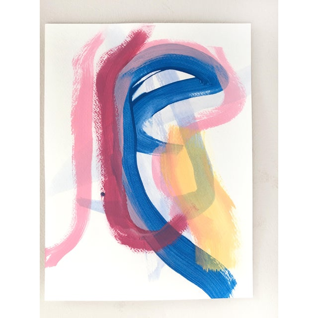 Abstract Burgundy Stripe Set of Two Original Paintings For Sale - Image 3 of 7