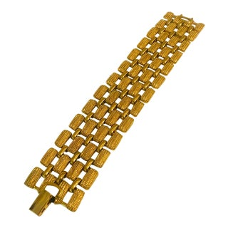 1980s Monet Wide Gold Chain Link Bracelet For Sale