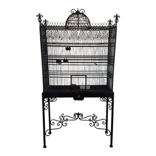 Vintage Domed Iron Two-Piece Floor Birdcage For Sale