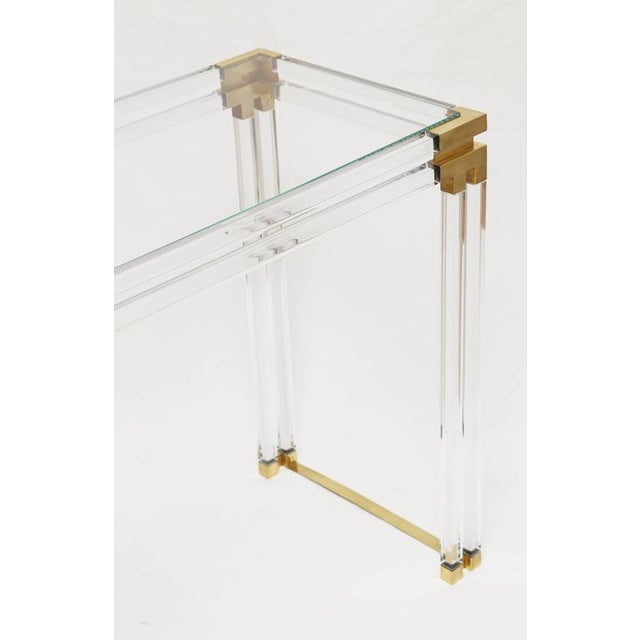 Brass Lucite and Brass Console For Sale - Image 7 of 7