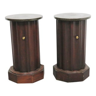 Empire Column Form Pedistal Cabinets - A Pair