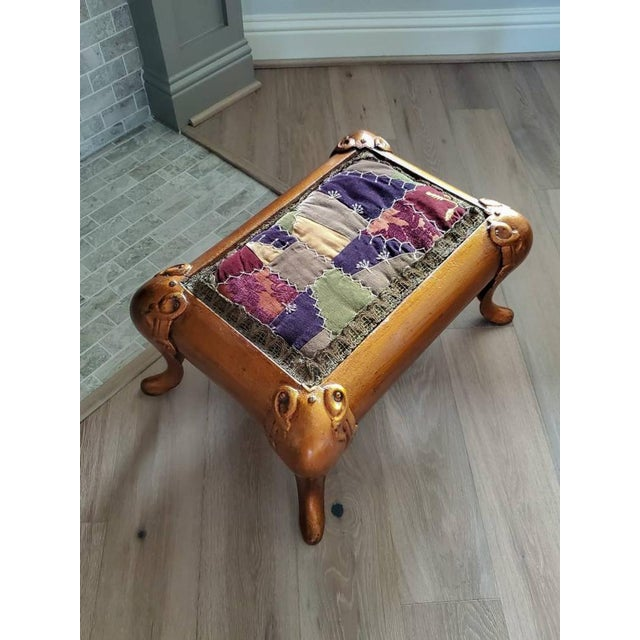 19th Century Antique Asian Gilt Bronze Cast Iron Upholstered Stool For Sale - Image 5 of 11