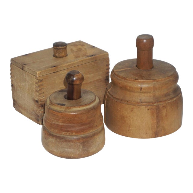 Collection of 3 Antique Butter Molds For Sale