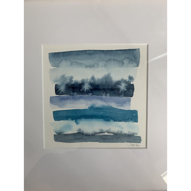 This painting is part of the series études en bleu, n° deux. An original abstract painted by me in watercolor in shades of...