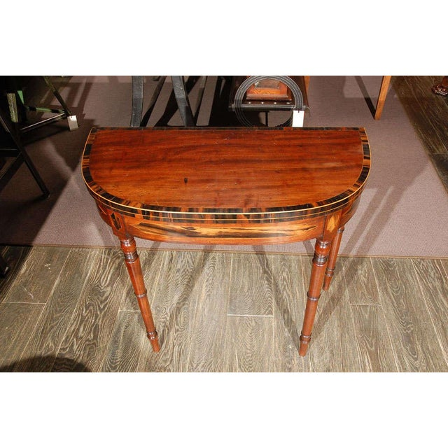 Mahogany 1830s English Demilune Mahogany Game Table or Console For Sale - Image 7 of 13
