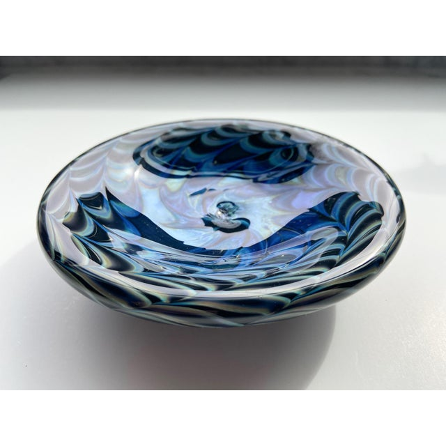1980s Signed Iridescent Art Glass Dish For Sale In Providence - Image 6 of 6