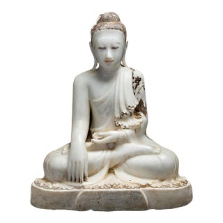 Marble Sculpture of the Seated Buddha For Sale