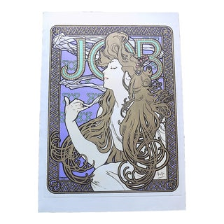 """Vintage Poster Lithograph - Alphonse Mucha - """"Job"""" Cigarette Papers - 15.5"""" X 20.5"""" For Sale"""