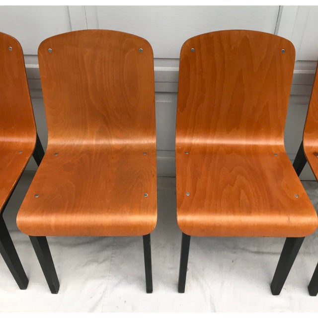Vintage Rounded Bent Plywood Chairs - Set of 5 For Sale In Los Angeles - Image 6 of 9