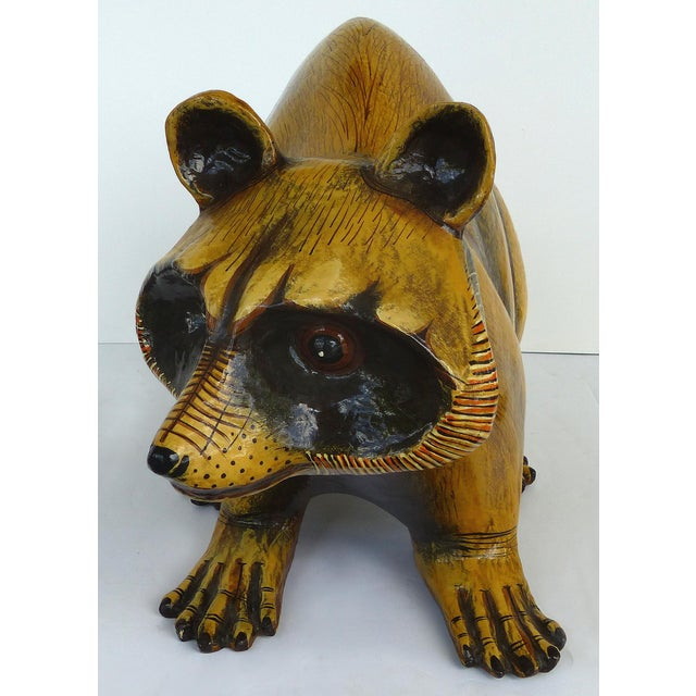 Mid-Century Modern Papier Mache Raccoon Sculpture by Sergio Bustamante For Sale - Image 3 of 9