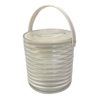 Vintage Lucite White Ice Bucket For Sale