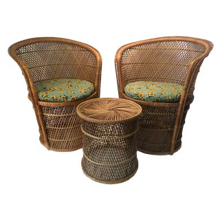 Mid-Century Modern Italian Style Set of Two Rattan Barrel/Club Chairs & Table- 3 Pieces For Sale