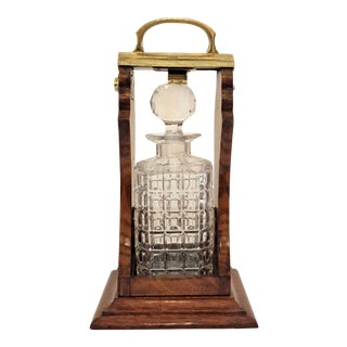 Antique English Brass Mounted Single Bottle Tantalus, Circa 1890-1900. For Sale