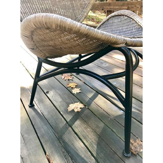 Wicker Mid Century Modern Salterini Clam Shell Chair For Sale - Image 7 of 10