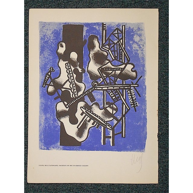 This vibrant lithograph (offset) by the famous modernist Fernand Leger depicts an abstracted landscape. Facsimile...