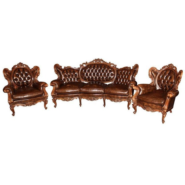 Antique French Rococo Parlor Set - Set of 3 For Sale - Image 9 of 9