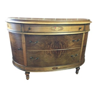 20th Century Art Nouveau Walnut Demi Lune Console For Sale