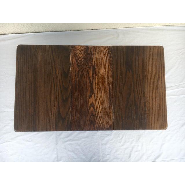 Small Petite Mini Vintage Mid-Century Wood Drop Leaf Side Table For Sale - Image 10 of 13