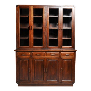 British Colonial Art Deco Bookcase With Four Drawers For Sale