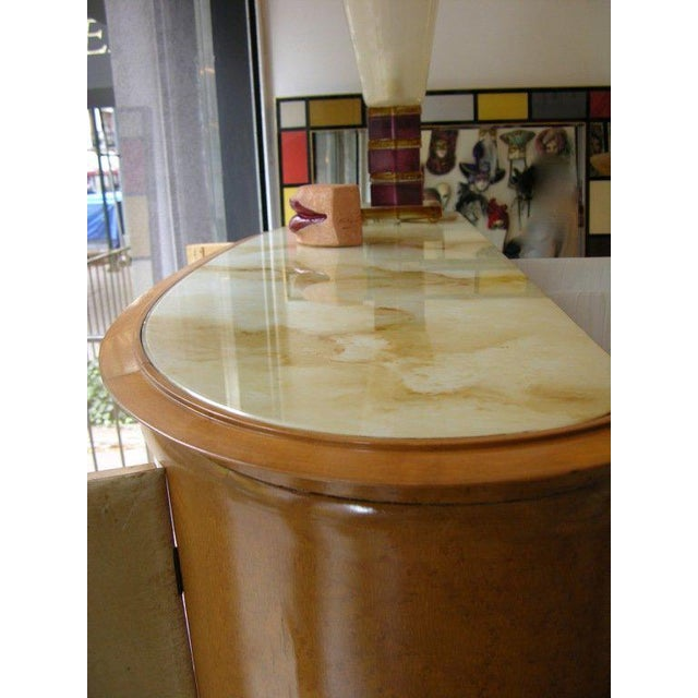 Italian 1940 Italian Parchment Cabinet or Bar With Bird's-Eye Maple Interior For Sale - Image 3 of 10