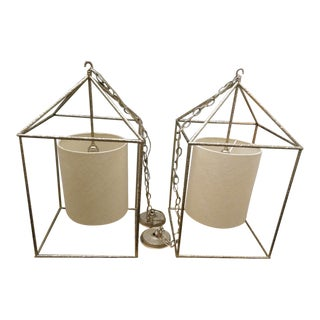 Hammered Metal Nickel Vaughan Ladbroke Lanterns - A Pair