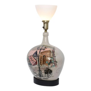 1950s Pottery Vase with Painted Parisian Scene Lamp For Sale