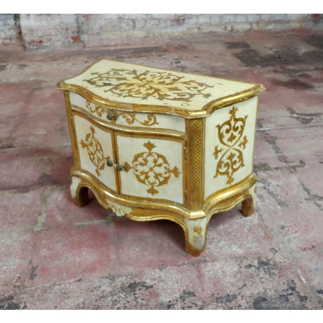Italian Antique Italian Florentine Small Gilt-Wood Commodes -A Pair For Sale - Image 3 of 10