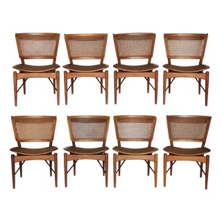 1950s Vintage Finn Juhl for Baker Teak Dining Chairs - Set of 8 For Sale