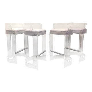 Vintage Lucite Bar Stools - Set of 4 For Sale
