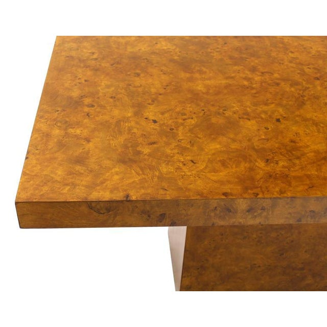 Milo Baughman Burl Wod Single Pedestal Dining Table For Sale - Image 4 of 8