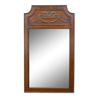 Mid-Century Modern Walnut Mirror, Neoclassical Style Mirror For Sale