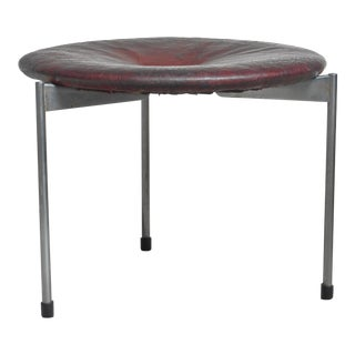 Metal and Leather Tripod Stool, Denmark For Sale