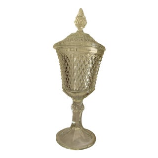 Midcentury Textured Tall Glass Pedestal Container For Sale