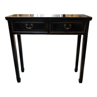 Petite Asian Style Black Lacquer Console For Sale