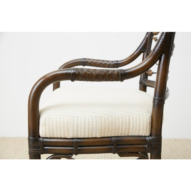 Set of Four Neoclassical Style Rattan Dining Armchairs For Sale In San Francisco - Image 6 of 13