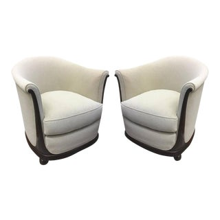 Jules Leleu Stamped Rarest Pair of Early Art Deco Chairs Newly Covered in Mohair For Sale