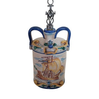 Italy Decanter, Hand Decorated Sailing Ship Majolica From Caltagirone For Sale