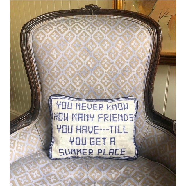 Traditional 21st Century Needlepoint Summer House Pillow For Sale - Image 3 of 4