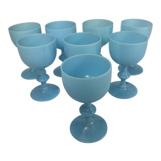 French Portieux Vallerysthal Blue Opaline Wine Glasses - Set of 8 For Sale