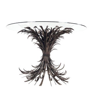 French Wheat Sheaf Table With Round Glass Top For Sale