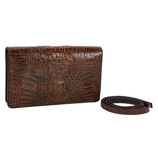 Vintage Brown Crocodile Clutch Handbag / Purse For Sale