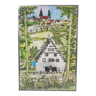 1979 Hand-Painted Lucite Spanish Mission Landscape Suncatcher For Sale