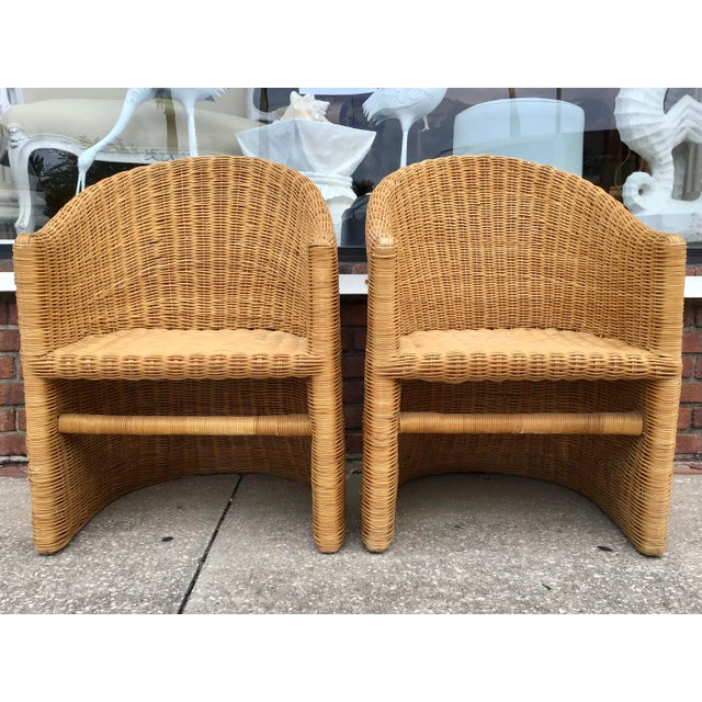 Gorgeous pair of Bielecky Brothers Boho Chic rattan outdoor chairs. Decorate your tropical patio with these chic cute...