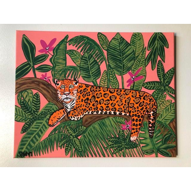 Boho Chic Jaguar Safari Painting, Jungle Painting, Hollywood Regency Painting For Sale - Image 3 of 3