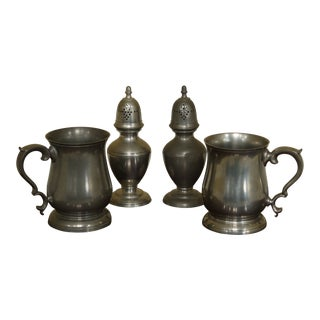 Stieff Colonial Williamsburg Pewter Mugs & Salt & Pepper Shaker - 4 Pieces For Sale