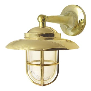 Non-Corrosive Brass Nautical Wall Sconce For Sale