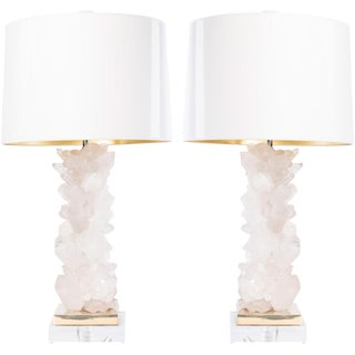 Times Two Design Metal Momma Crystal Column Table Lamp Bases – a Pair