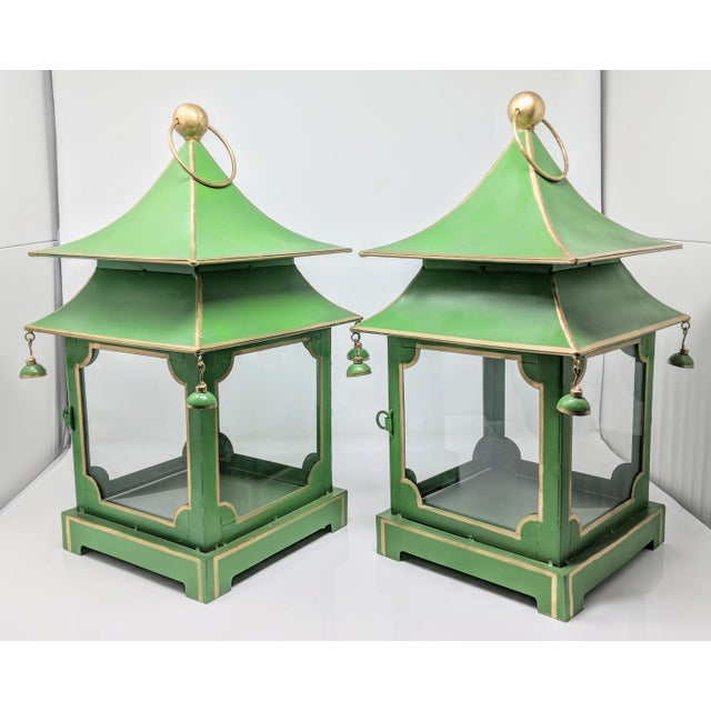 Asian Asian Antiqued Two-Tier Green Tole Pagoda Lanterns - a Pair For Sale - Image 3 of 12